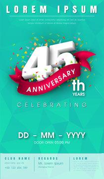 anniversary invitation card or emblem template design