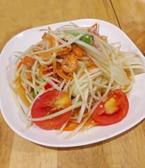 Spicy Papaya salad or Som Tam , Thai cuisine food and famous dish