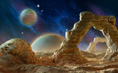 Spacescape with arch