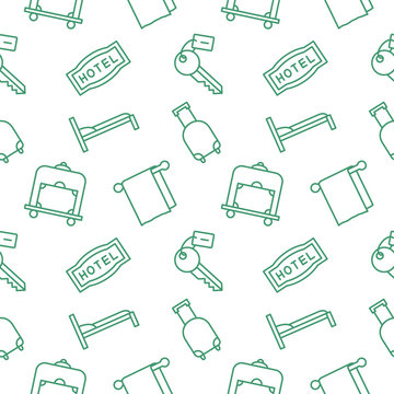 Hotel seamless pattern background vector