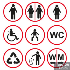 Toilet signs. Pointer. Man. Female. Public place. For your design.