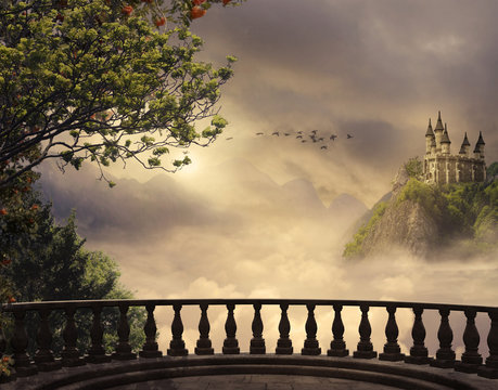 Fantasy castle and balcony in the mountains. 3D rendering