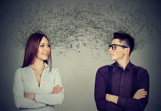man and woman looking at each other exchanging with many thoughts