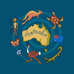Australian vector doodle set