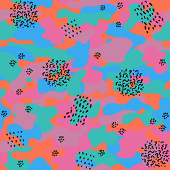 Camouflage seamless pattern in a violet, green, orange and pink colors. With waves, points and footprints in black.