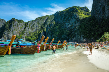 Boats on the beach of Koh Phi Phi, Thailand