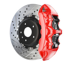 Brake disk and red caliper. Brakes system