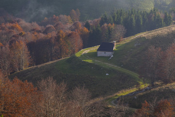 Cansiglio forest, Veneto, Italy. A small lodge on Pizzoc mountain