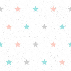 Doodle star seamless background. Abstract childish blue, grey and pink star
