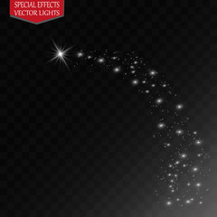 Light glow effect stars bursts with sparkles isolated on transparent background.