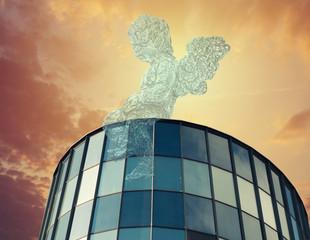 Angel on business against blue sky