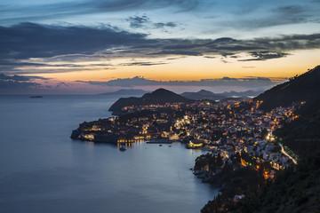 Dubrovnik city at dusk (Dubrovnik, Dubrovnik-Neretva county, Dalmatia region, Croatia, Europe)