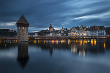 Lucerne and the Chapel Bridge (Lucerne, Lucerne canton, Switzerland, Europe)