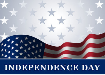 Independence day USA background with flag. Symbol of 4th july celebration the United State of America. Happy fourth july holiday, patriotic flag banner template. Vector illlustration