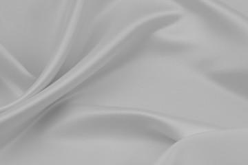 Rippled white silk fabric