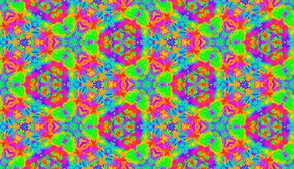 Seamless pattern tile with mandalas. Vintage decorative elements. Hand drawn background. Islam, Arabic, Indian motifs. Perfect for printing on fabric or paper. Neon rainbow kaleidoscope vector.Tie dye