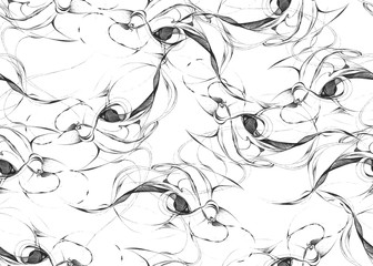 Seamless abstract pattern. Hand drawn curly shapes, looks like organic life forms, black outlines on white background. Conceptual texture. Textile print. Wallpaper.