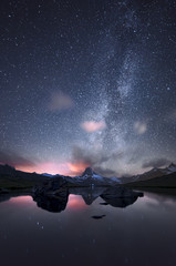 Europe, Switzerland, canton of Valais, Visp district, Zermatt, Stellisee lake - Matterhorn at starry night