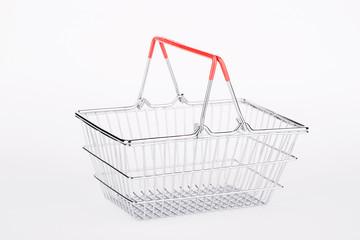 empty shopping basket on white background