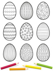 Easter eggs coloring page - nine eggs with different patterns to be colored - isolated vector illustration on white background.