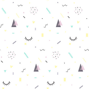 Memphis seamless pattern 80's-90's styles. Trendy . Colorful geometric background, different shapes. Vector Illustration