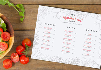 Floral Line Art Menu Layout 2