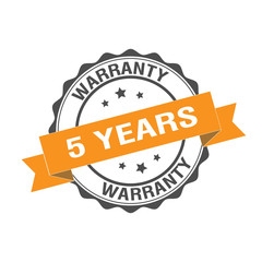5 Years Warranty stamp illustration