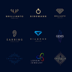 Jewellery company logos set.