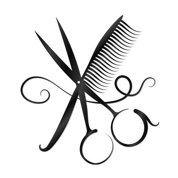 Scissors, comb and hair silhouette