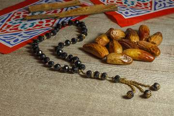 Ramadan decoration with dried fruits