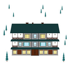 Wooden house isolated  . Vector