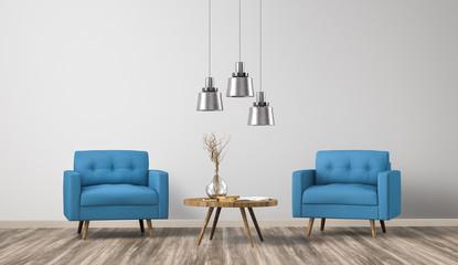 Fototapeta Sessel  im Raum / Wohnzimmer / Leere Wand / 3d obraz