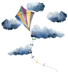 Watercolor kite with clouds and retro design. Hand painted illustrations isolated on white background. For design or print.