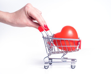 shopping cart with heart