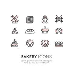 Vector Icon Style Illustration Logo Set of Bakery Sweet Shop, Custom Cake Production, Bread Factory, Pretzel and Waffle, Donut, Cookie, Isolated Minimalistic Object