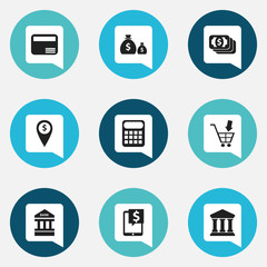 Set Of 9 Editable Financial Icons. Includes Symbols Such As Computation Machine, Bank Location, Treasure And More. Can Be Used For Web, Mobile, UI And Infographic Design.