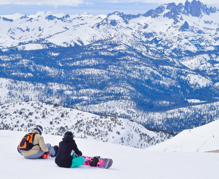 Snowboarders Take in the View at the Summit of Mammoth Mountain Ski Area