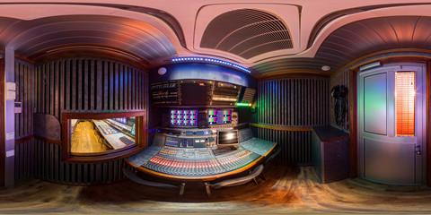 360 panorama of ob van in equirectangular spherical equidistant projection sound director control module panorama inside huge broadcast obvan sound space of audio engineer pano 360