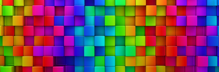 Rainbow of colorful blocks abstract background - 3d render Wall mural