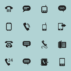 Set Of 16 Editable Gadget Icons. Includes Symbols Such As Chat, Talking, Radio Talkie And More. Can Be Used For Web, Mobile, UI And Infographic Design.