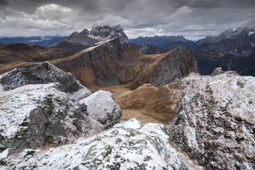 Europe, Italy, Veneto, Belluno. Wide view of  Mondeval  with the mount Corvo Alto and Pelmo in the background. Cadore, Dolomites
