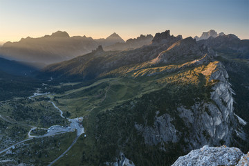 Europe, Italy, Veneto, Belluno. The road of the Falzarego pass on the side leading down to Cortina d Ampezzo, Dolomites