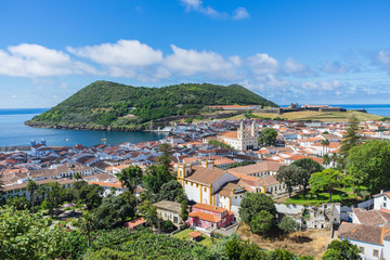 Sunny view of Angra do Heroismo from Alto da Memoria, Azores, Portugal