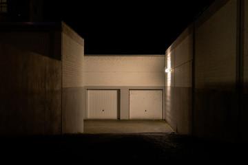 Garage entrance at night