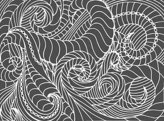 Abstract vector wave background of doodle hand drawn lines. Colorful floral pattern.