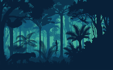 Wall Murals Green blue Vector evening tropical rainforest Jungle background with jaguar, sloth, monkey and qetzal