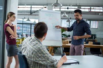Business executives discussing over flip chart during meeting