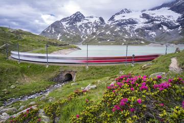 Passo del Bernina - Swizterland.Long exposure of Bernina Express.