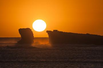 As about to Set/ the set of the sun on Eyre Peninsula, South Australia, Australia