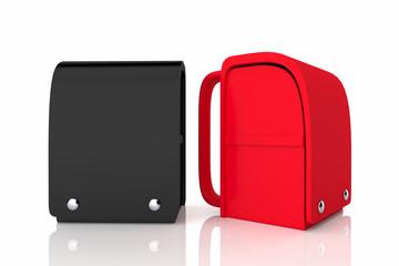 赤と黒のランドセル3Dレンダリング